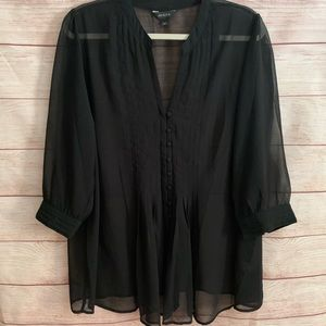 Jessica Black Sheer Button Down Blouse